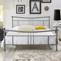 E-Rest Deanna Metal Queen Platform Bed in Matte Silver