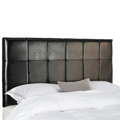 Safavieh Quincy Leather Full Headboard In Black