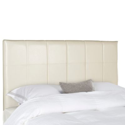 safavieh quincy leather queen headboard in white