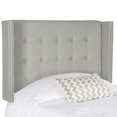 Safavieh Keegan Linen Tufted Winged Full Headboard in Silver - Buy Silver Metal Headboard From Bed Bath & Beyond