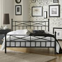 E-Rest Kayla Metal Queen Platform Bed in Black