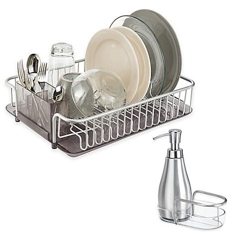 Interdesign 174 Metro Aluminum Dish Rack And Soap Dispenser