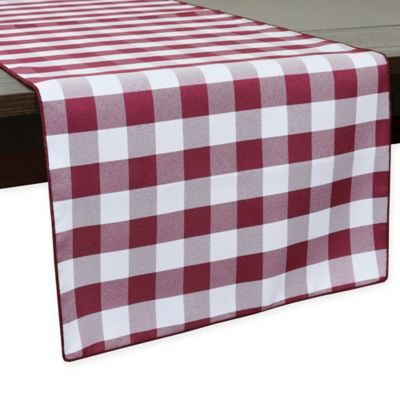 Gingham Poly Check 54 Inch Table Runner In Burgundy/White
