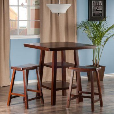 The Winsome Trading Orlando 3 Piece High Table And Saddle Seat Stool Set  Pub Set