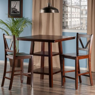 The Winsome Trading Orlando 3 Piece High Table And Counter Stool Pub Set In  Walnut