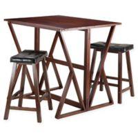 Harrington Wood 3-Piece Table and Cushion Stools in Walnut