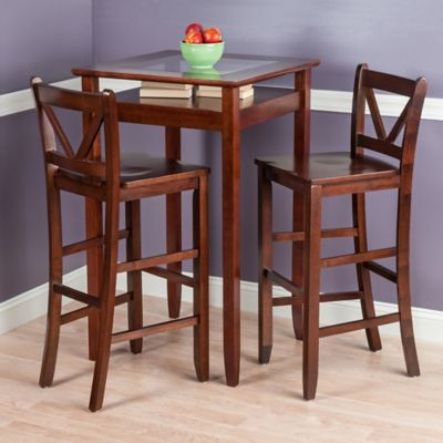 Winsome Trading Halo 3-Piece Pub Table Set in Walnut : pub table set 3 piece - pezcame.com