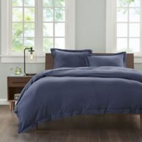 INK+IVY Cotton Jersey Knit Twin/Twin XL Duvet Cover Set in Navy