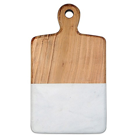 image of Artisanal Kitchen Supply® 13-Inch Acacia and Marble Cheese Board