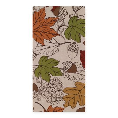 Etched Leaves Chambray Tea Towel