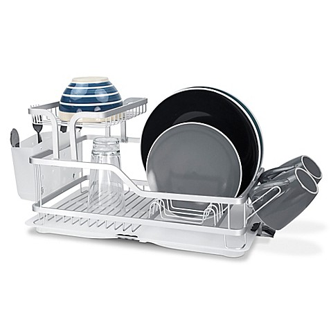 buy home basics 2 tier aluminum dish rack from bed bath beyond. Black Bedroom Furniture Sets. Home Design Ideas
