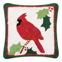 Holiday Cardinal 14-Inch Square Throw Pillow in Green/Red
