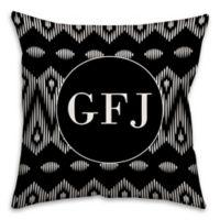 Boho Tribal 18-Inch Square Throw Pillow in Black/White