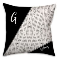 Boho Tribal Diamond Dotted 18-Inch Square Throw Pillow in Black/White