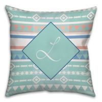 Boho Tribal 16-Inch Square Throw Pillow in Mint/Coral