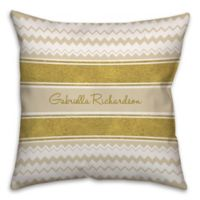 Chevron and Ribbon 18-Inch Square Throw Pillow in Gold/White