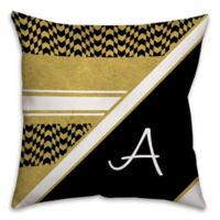 Chevron Checkerboard 16-Inch Square Throw Pillow in Black/Gold