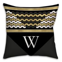 Chevron Stack 16-Inch Square Throw Pillow in Black/Gold