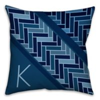 Tiled Pattern 16-Inch Square Throw Pillow in Navy