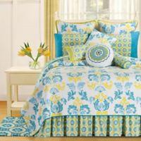 Delilah Reversible Full/Queen Quilt in Blue/Yellow