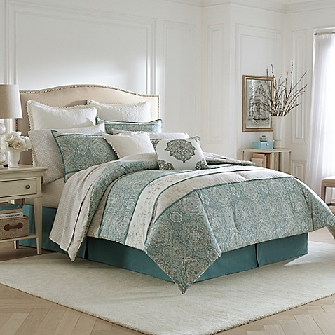 laura ashley ardleigh comforter set in light blue bed. Black Bedroom Furniture Sets. Home Design Ideas