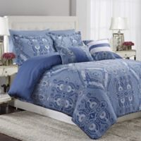 Tribeca Living Atlantis 5-Piece Reversible Queen Duvet Cover Set in Blue