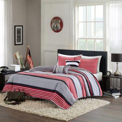 Delightful Intelligent Design Paul Full/Queen Coverlet Set In Red
