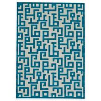 Feizy Gara Blocks 2-Foot 2-Inch x 4-Foot Accent Rug in Blue/White