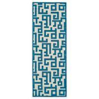 Feizy Gara Blocks 2-Foot 10-Inch x 7-Foot 10-Inch Runner in Blue/White