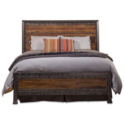 hillsdale mackinac king bed set with rails in blackwood
