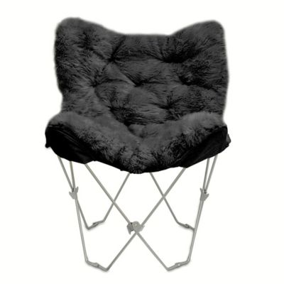 buy mongolian fur butterfly chair in white from bed bath