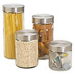 Home Basics™ 4-Piece Glass Canister Set with Stainless Steel Lids