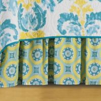 Delilah King Bed Skirt in Blue/Yellow