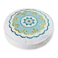 Delilah Round Throw Pillow in Blue/Yellow