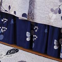 Geneva Queen Bed Skirt in Grey/Navy