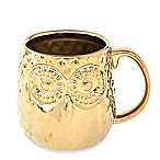 Home Essentials & Beyond Embossed Owl Gold Coffee Mug