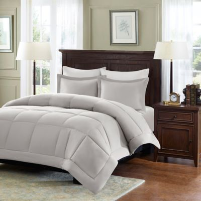 madison park microcell down alternative fullqueen comforter set in grey - Down Comforter Queen