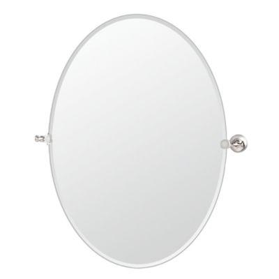 GatcoR Tavern 285 Inch X 32 Frameless Oval Mirror In Satin Nickel