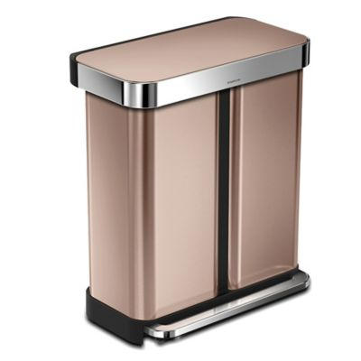 Simplehuman® Dual Compartment Rectangular 15.3 Gallon Step Can In Rose Gold