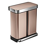 simplehuman® Dual Compartment Rectangular 58-Liter Step Trash Can in Rose Gold