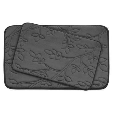 bathroom mat. Bounce Comfort Spring Leaves Memory Foam 2 Piece Bath Mat Set in Grey Buy Bathroom from Bed  Beyond