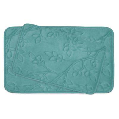Bounce Comfort Spring Leaves Memory Foam 2 Piece Bath Mat Set In Grey