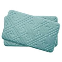 Bounce Comfort Caicos Memory Foam 17-Inch x 24-Inch Bath Mats in Aqua (Set of 2)