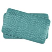 Bounce Comfort Chain Ring Memory Foam 17-inch x 24-Inch Bath Mats in Blue (Set of 2)