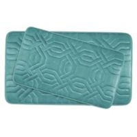Bounce Comfort Chain Ring Memory Foam 2-Piece Bath Mat Set in Blue