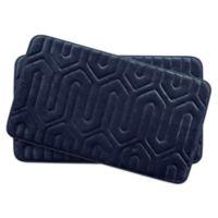 Bounce Comfort Thea Memory Foam 17-Inch x 24-Inch Bath Mats in Indigo (Set of 2)