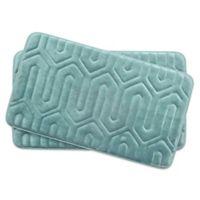Bounce Comfort Thea Memory Foam 17-Inch x 24-Inch Bath Mats in Aqua (Set of 2)