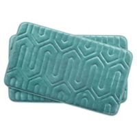 Bounce Comfort Thea Memory Foam 17-Inch x 24-Inch Bath Mats in Blue (Set of 2)