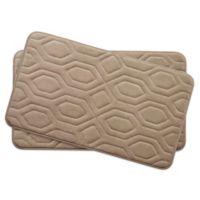 Bounce Comfort Turtle Shell Memory Foam 17-Inch x 24-Inch Bath Mats in Linen (Set of 2)