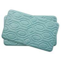 Bounce Comfort Turtle Shell Memory Foam 17-Inch x 24-Inch Bath Mats in Aqua (Set of 2)